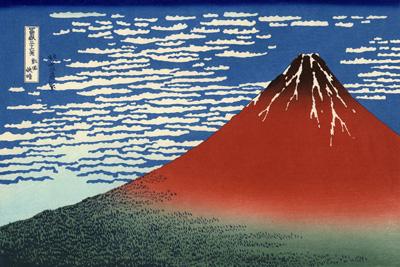 「凱風快晴」は富士山を描いた葛飾北斎の冨嶽三十六景の中でも「神奈川沖浪裏」・「山下白雨」とならび人気の高い作品で三役の一つとされており、通称「赤富士」と呼ば